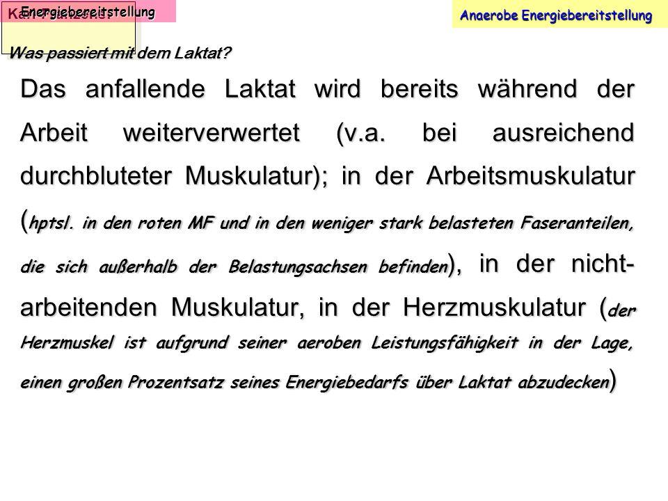 Karl-Franzens: Energiebereitstellung Anaerobe Energiebereitstellung Was passiert mit dem Laktat? Das anfallende Laktat wird bereits während der Arbeit