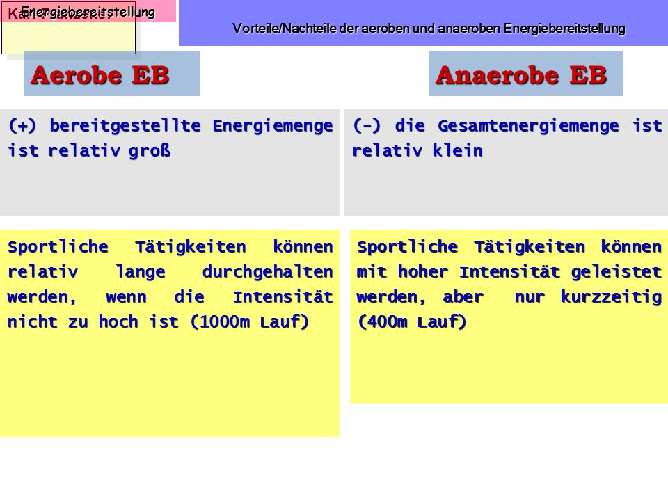 Karl-Franzens: Energiebereitstellung Vorteile/Nachteile der aeroben und anaeroben Energiebereitstellung Vorteile/Nachteile der aeroben und anaeroben E