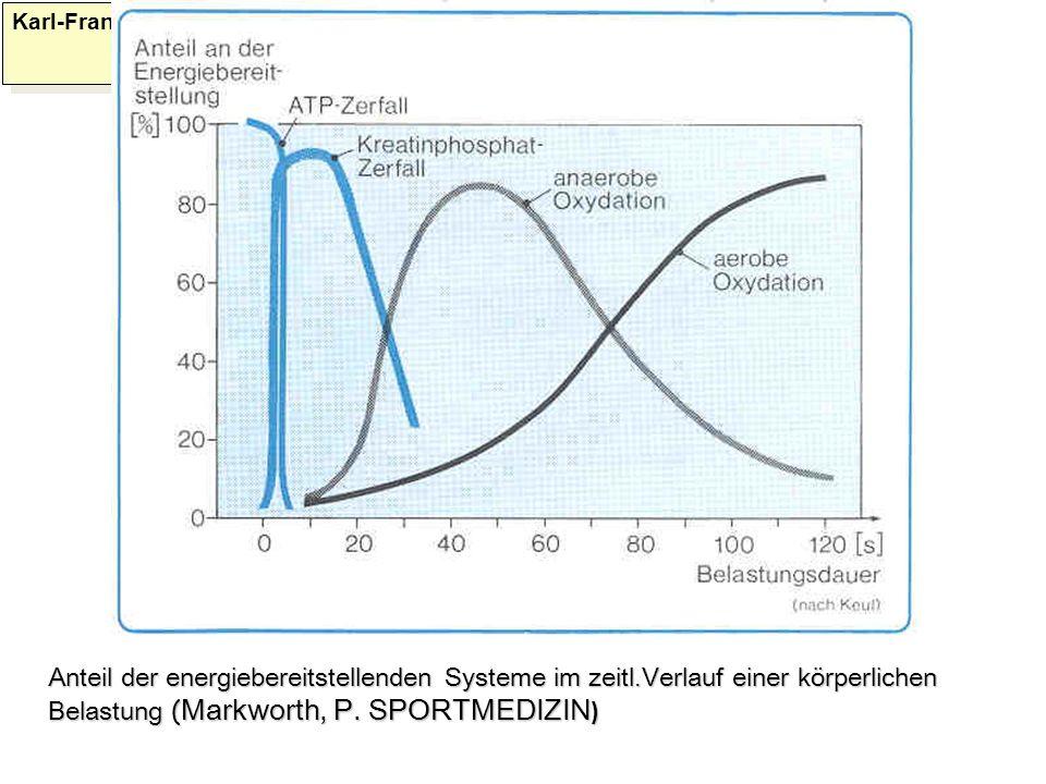 Karl-Franzens: Anteil der energiebereitstellenden Systeme im zeitl.Verlauf einer körperlichen Belastung ( Markworth, P. SPORTMEDIZIN )