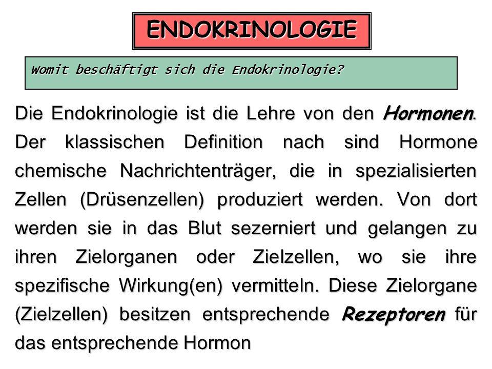 ENDOKRINOLOGIE Womit beschäftigt sich die Endokrinologie? Die Endokrinologie ist die Lehre von den Hormonen. Der klassischen Definition nach sind Horm