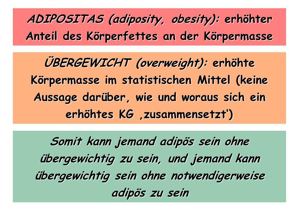 ADIPOSITAS (adiposity, obesity): erhöhter Anteil des Körperfettes an der Körpermasse ÜBERGEWICHT (overweight): erhöhte Körpermasse im statistischen Mi