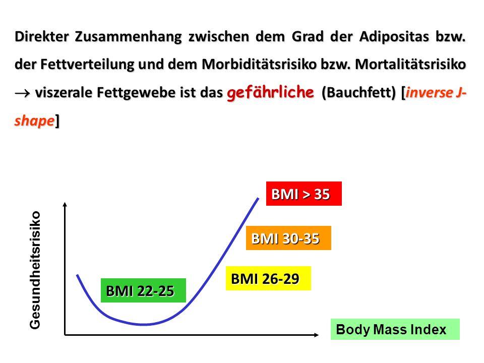 Direkter Zusammenhang zwischen dem Grad der Adipositas bzw. der Fettverteilung und dem Morbiditätsrisiko bzw. Mortalitätsrisiko viszerale Fettgewebe i