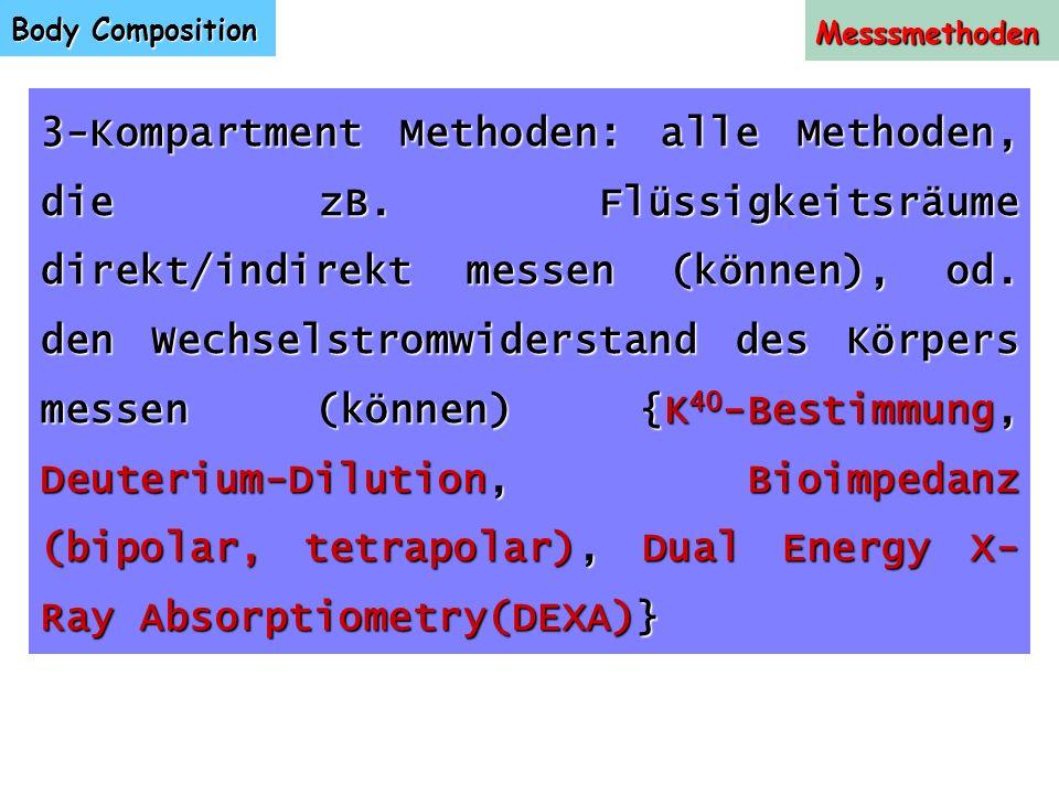 Body Composition Messsmethoden 3-Kompartment Methoden: alle Methoden, die zB. Flüssigkeitsräume direkt/indirekt messen (können), od. den Wechselstromw