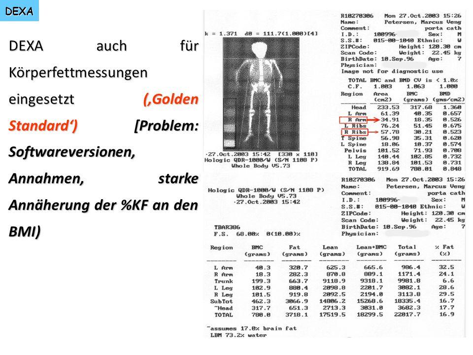 DEXA DEXA auch für Körperfettmessungen eingesetzt (Golden Standard) [Problem: Softwareversionen, Annahmen, starke Annäherung der %KF an den BMI)