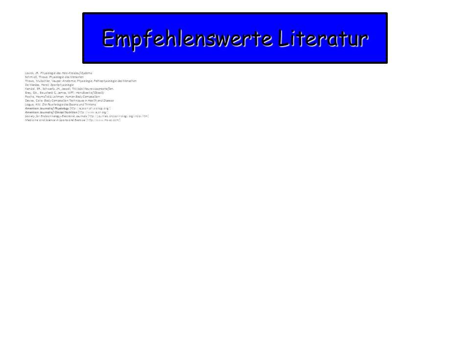 Empfehlenswerte Literatur Levick, JR. Physiologie des Herz-Kreislauf-Systems Schmidt, Thews: Physiologie des Menschen Thews, Mutschler, Vaupel: Anatom