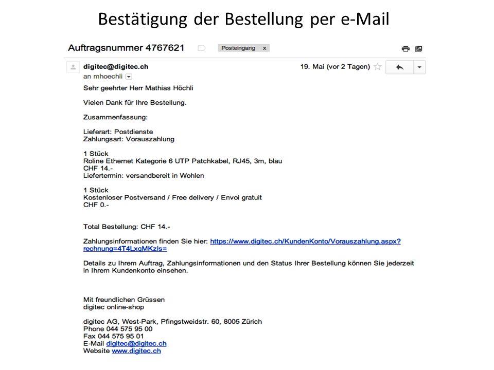 Bestätigung der Bestellung per e-Mail