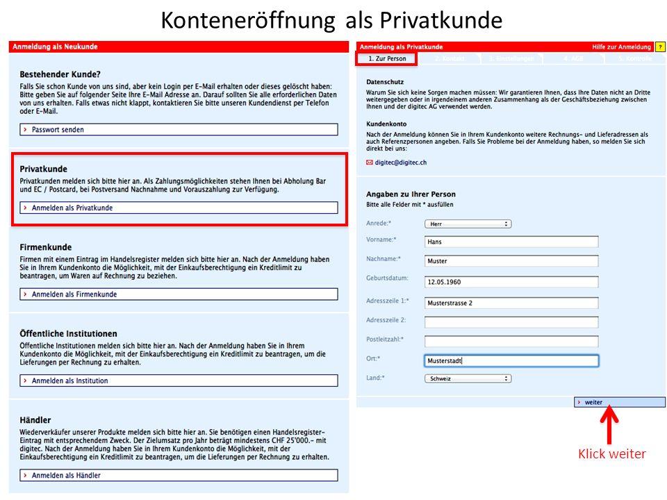 Konteneröffnung als Privatkunde Klick weiter