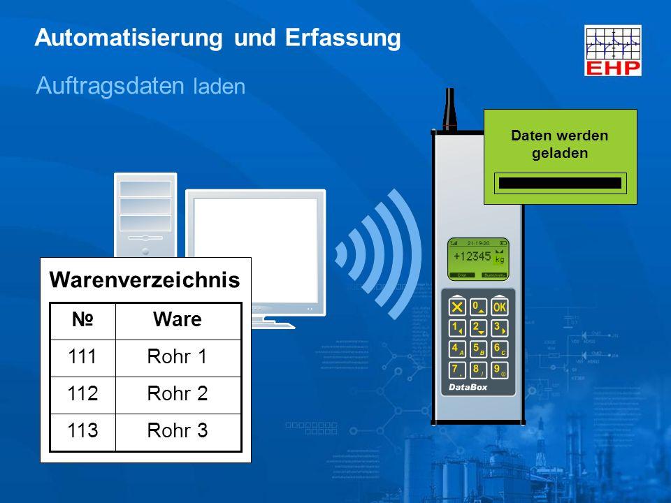kg Auftragsdaten laden Rohr 3113 Rohr 2112 Rohr 1111 Ware Warenverzeichnis Automatisierung und Erfassung Daten werden geladen
