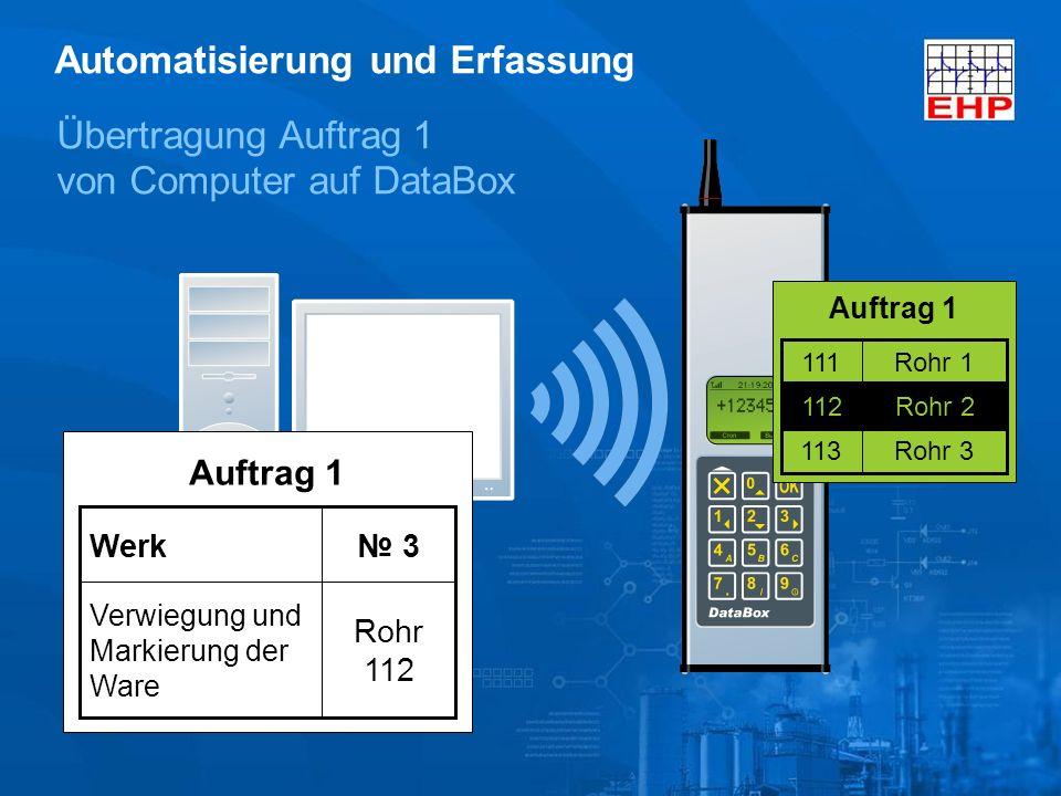Übertragung Auftrag 1 von Computer auf DataBox Auftrag 1 Rohr 3113 Rohr 2112 Rohr 1111 Rohr 2112 Automatisierung und Erfassung Auftrag 1 Rohr 112 Verwiegung und Markierung der Ware 3Werk