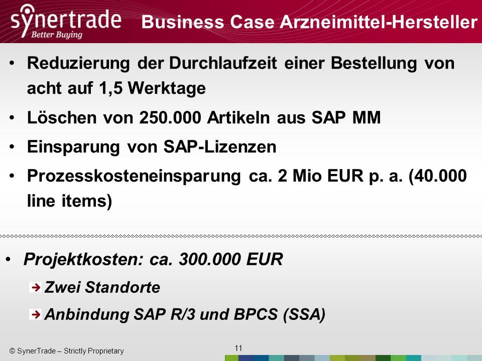 11 © SynerTrade – Strictly Proprietary Business Case Arzneimittel-Hersteller Reduzierung der Durchlaufzeit einer Bestellung von acht auf 1,5 Werktage Löschen von 250.000 Artikeln aus SAP MM Einsparung von SAP-Lizenzen Prozesskosteneinsparung ca.