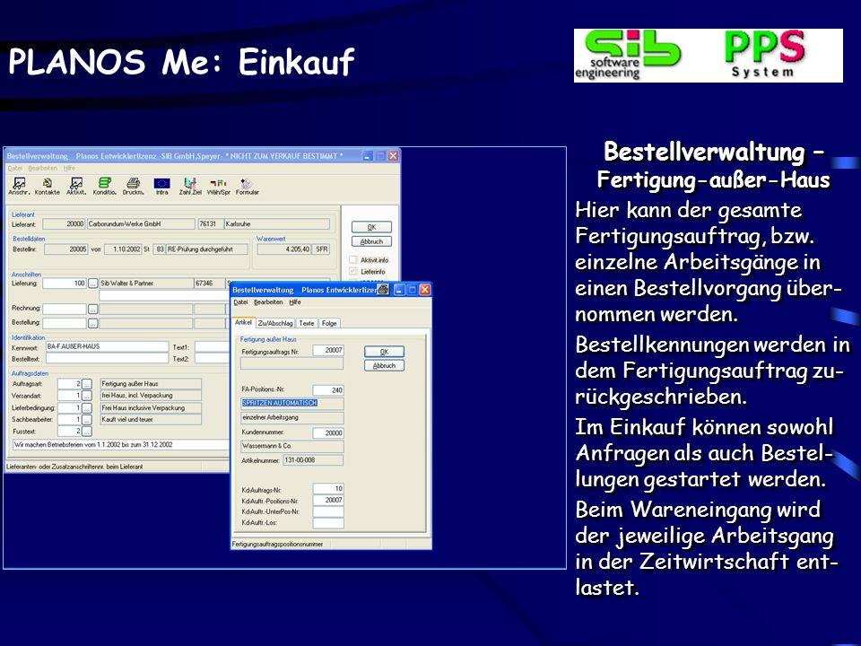 PLANOS Me: Einkauf Bestellverwaltung – Archivierte Formulare Formulare, hier ausgewählt die Bestellschreibung, kön- nen bei jedem Formular- druck arch