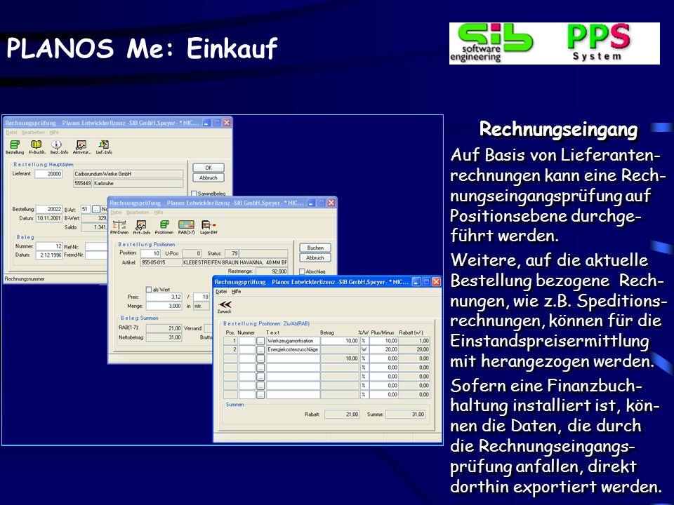 PLANOS Me: Einkauf Wareneingangsbuchung - Analysedaten Analysedaten können Chargen- oder Artikel be- zogen verwaltet werden. Wareneingangsbuchung - An