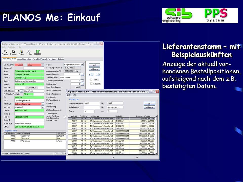 PLANOS Me: Einkauf Bestellverwaltung – Lieferantenauskünfte Vorliegende Zertifi- zierungsdaten des Lie- feranten gemäß ISO kön- nen über Buttons zur In- formation aufgerufen werden.