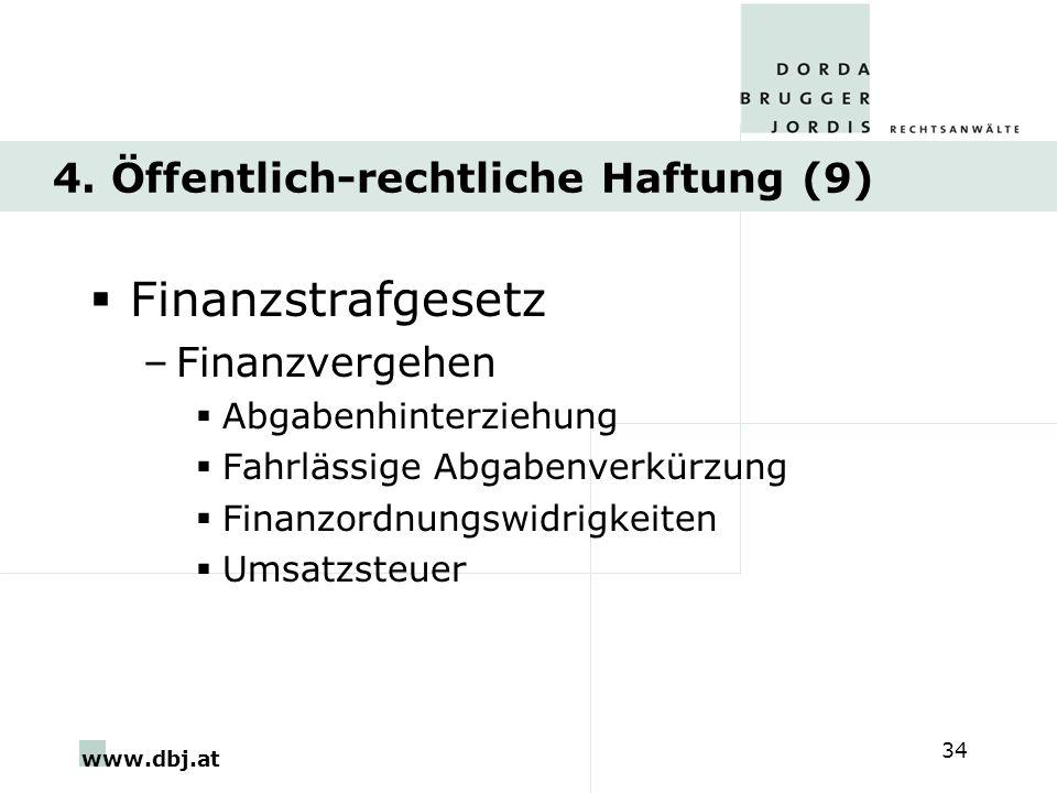 www.dbj.at 34 4. Öffentlich-rechtliche Haftung (9) Finanzstrafgesetz –Finanzvergehen Abgabenhinterziehung Fahrlässige Abgabenverkürzung Finanzordnungs