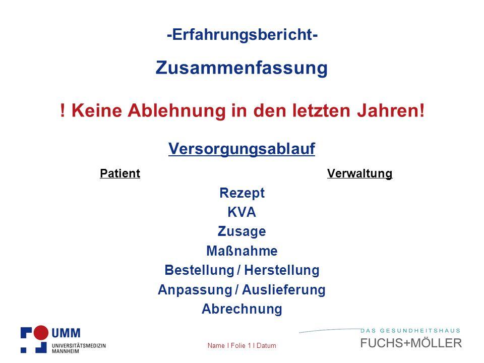 Name I Folie 1 I Datum -Erfahrungsbericht- Zusammenfassung ! Keine Ablehnung in den letzten Jahren! Versorgungsablauf Patient Verwaltung Rezept KVA Zu