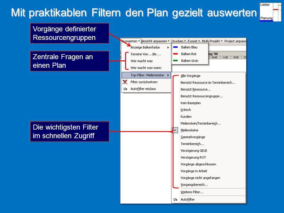 Mit praktikablen Filtern den Plan gezielt auswerten Vorgänge definierter Ressourcengruppen Zentrale Fragen an einen Plan Die wichtigsten Filter im schnellen Zugriff