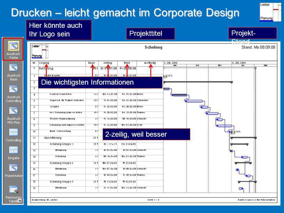 Drucken – leicht gemacht im Corporate Design Hier könnte auch Ihr Logo sein Projekttitel Projekt- Stand Die wichtigsten Informationen 2-zeilig, weil besser lesbar
