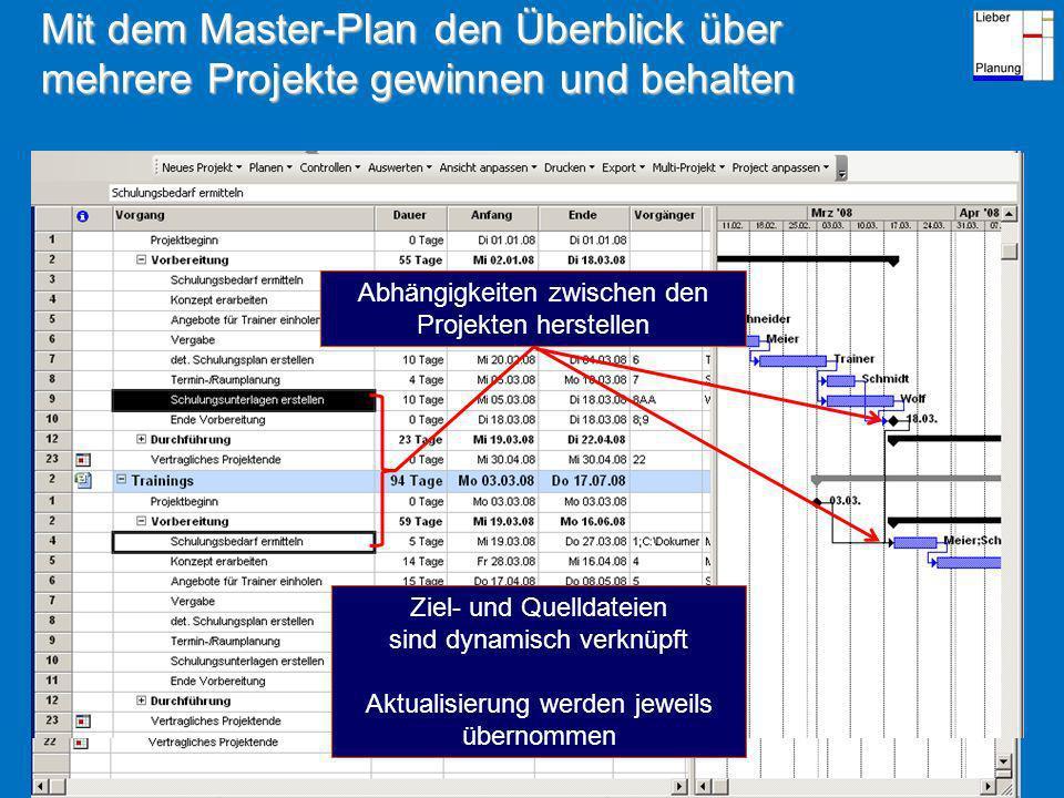 Mit dem Master-Plan den Überblick über mehrere Projekte gewinnen und behalten Einfach geöffnete Projektdateien markieren – OK Projekt A Projekt B Abhängigkeiten zwischen den Projekten herstellen Ziel- und Quelldateien sind dynamisch verknüpft Aktualisierung werden jeweils übernommen
