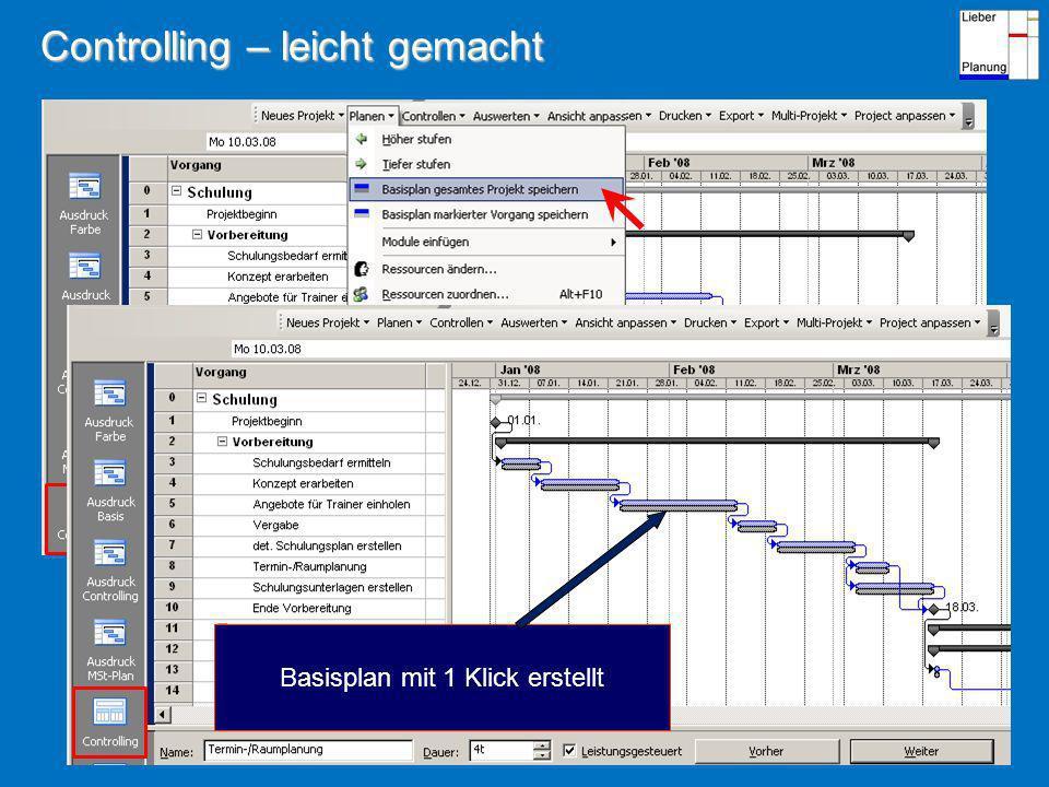 Controlling – leicht gemacht Basisplan mit 1 Klick erstellt