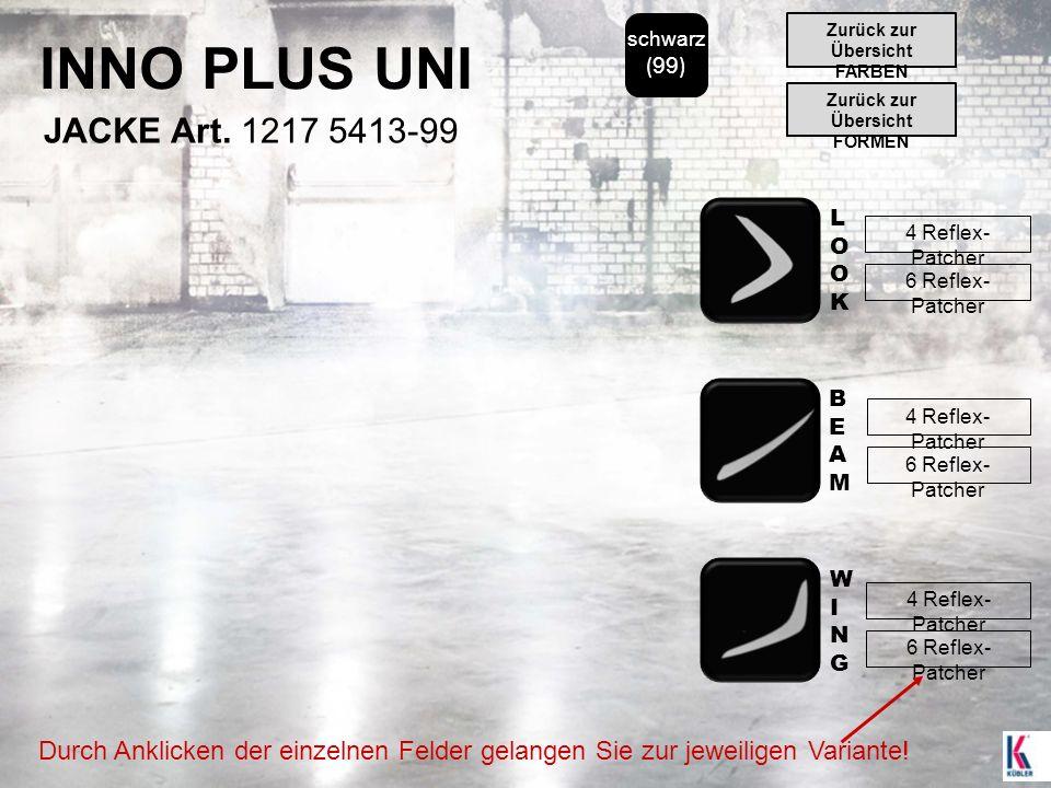 INNO PLUS UNI schwarz ( 99 ) JACKE Art. 1217 5413-99 LOOKLOOK BEAMBEAM WINGWING 4 Reflex- Patcher 6 Reflex- Patcher 4 Reflex- Patcher 6 Reflex- Patche