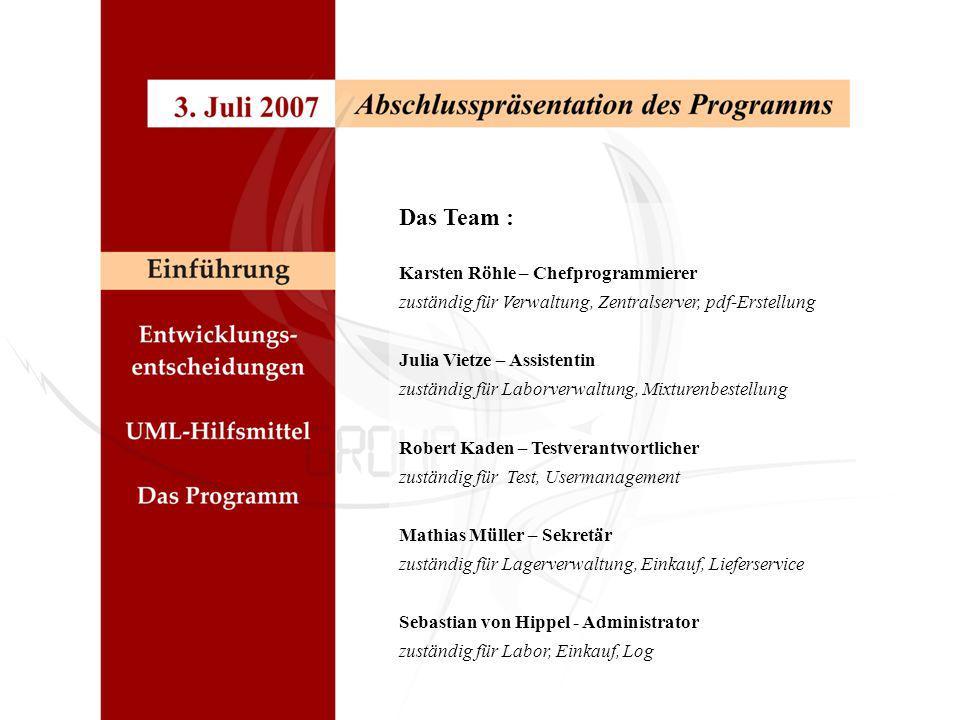 Das Team : Karsten Röhle – Chefprogrammierer zuständig für Verwaltung, Zentralserver, pdf-Erstellung Julia Vietze – Assistentin zuständig für Laborver