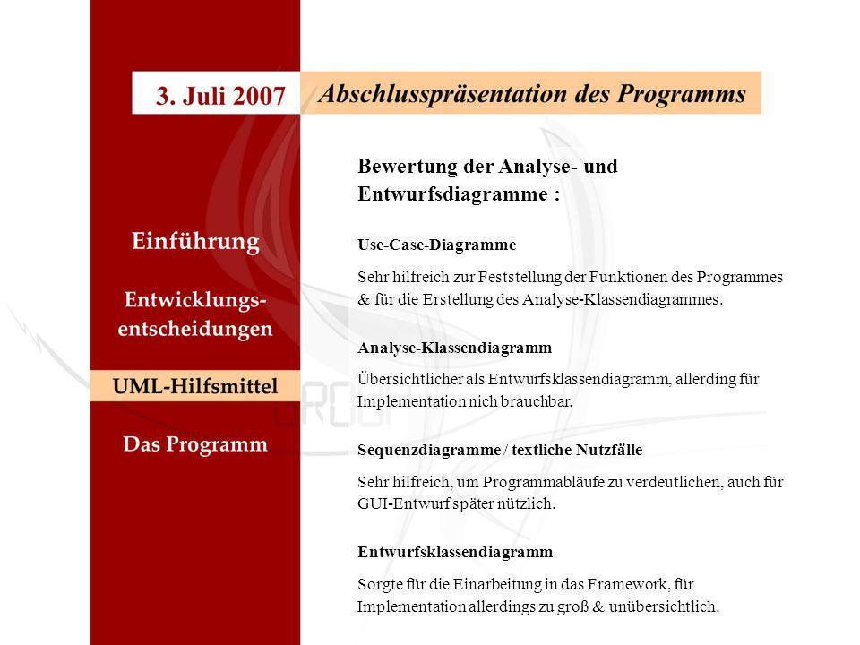 Bewertung der Analyse- und Entwurfsdiagramme : Use-Case-Diagramme Sehr hilfreich zur Feststellung der Funktionen des Programmes & für die Erstellung d