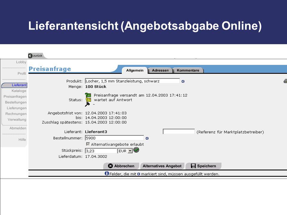Lieferantensicht (Angebotsabgabe Online)