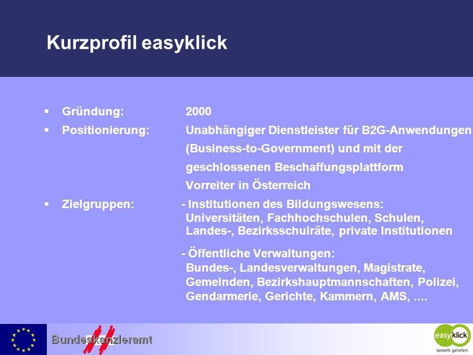 Kurzprofil easyklick Gründung:2000 Positionierung:Unabhängiger Dienstleister für B2G-Anwendungen (Business-to-Government) und mit der geschlossenen Be