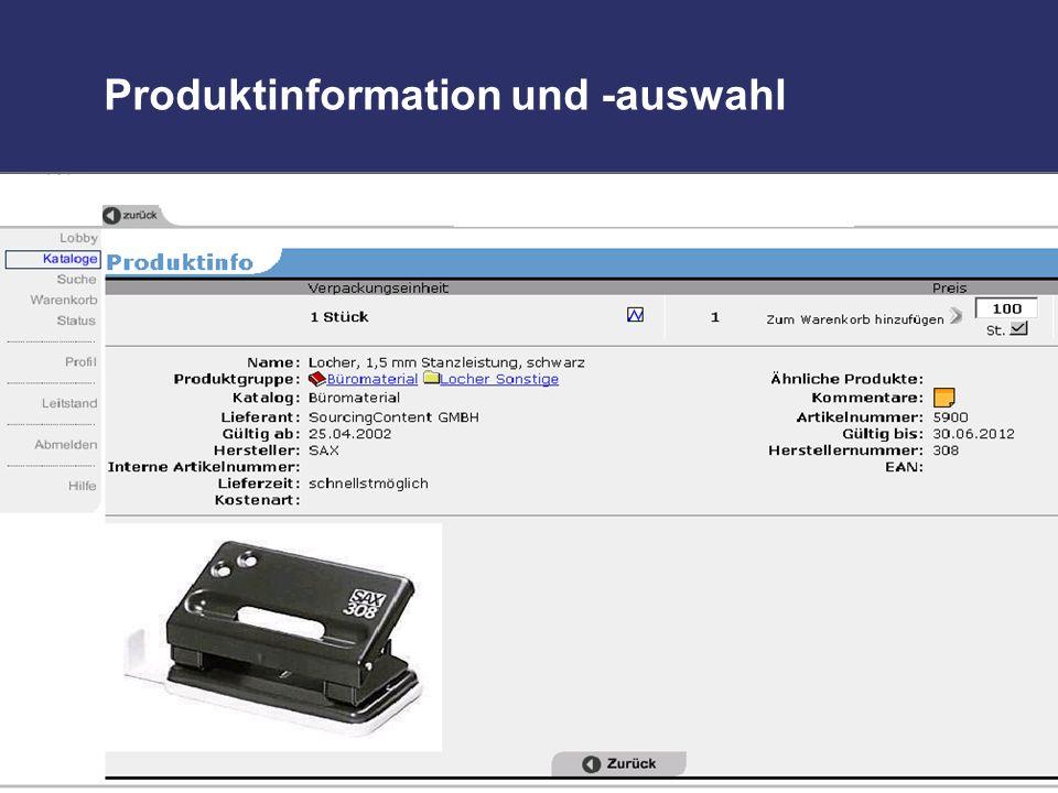 Produktinformation und -auswahl