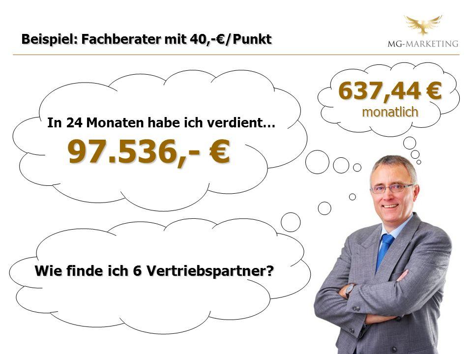 Beispiel: Fachberater mit 40,-/Punkt In 24 Monaten habe ich verdient… 97.536,- 97.536,- 637,44 637,44 monatlich Wie finde ich 6 Vertriebspartner?