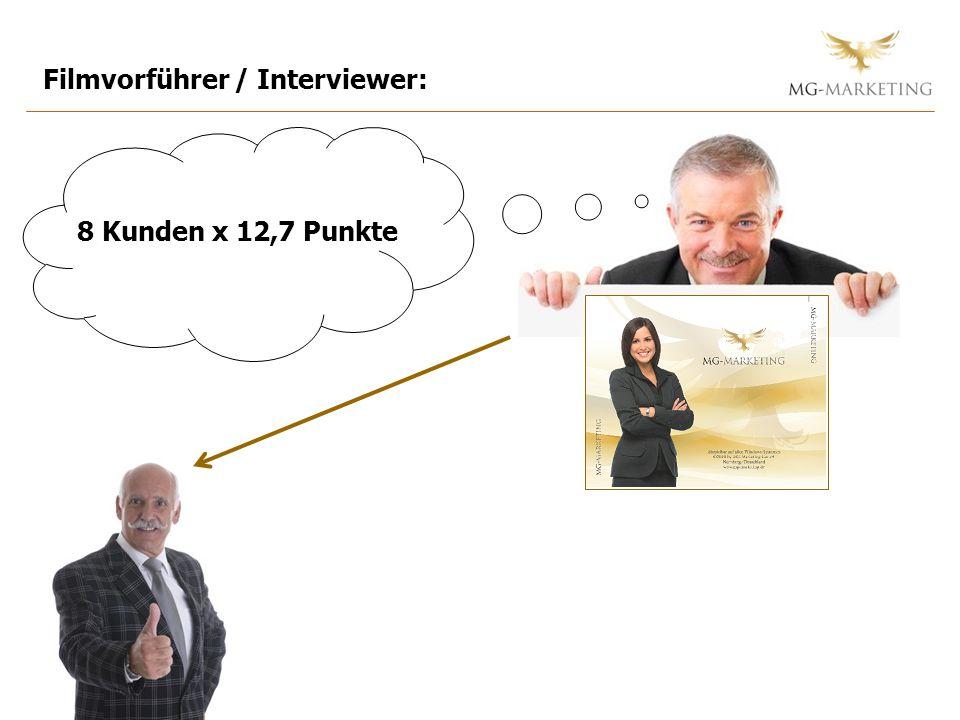 Filmvorführer / Interviewer: 8 Kunden x 12,7 Punkte