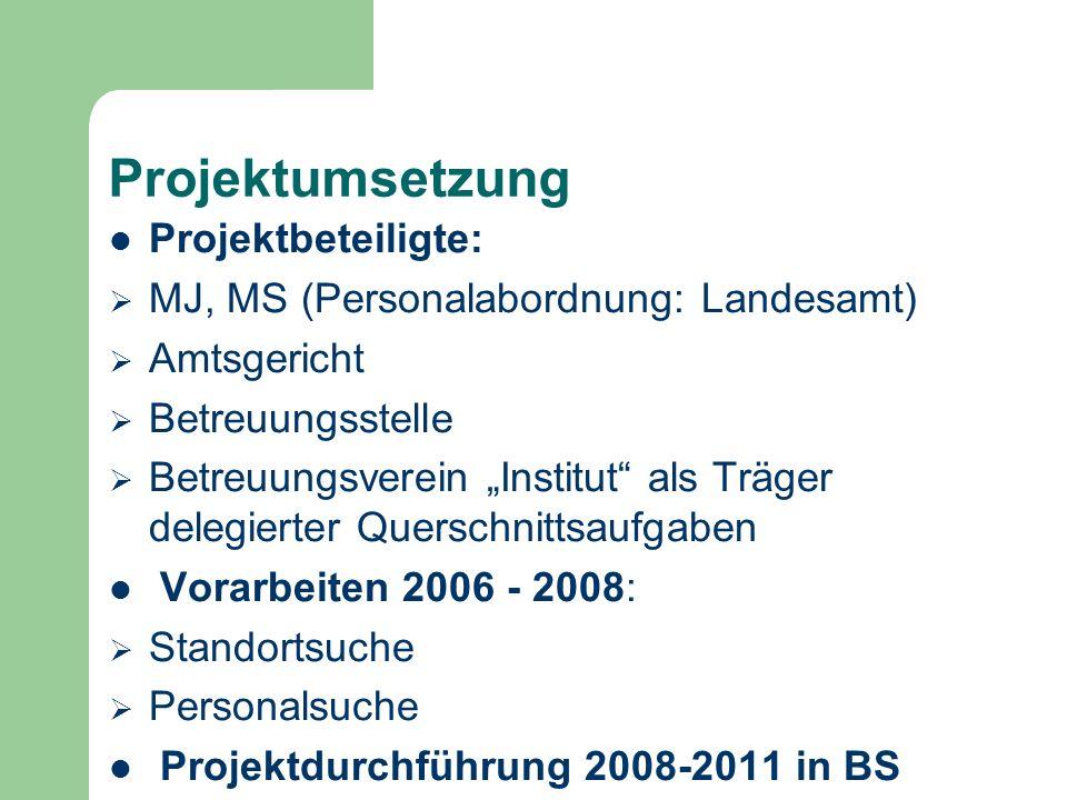 Projektumsetzung Projektbeteiligte: MJ, MS (Personalabordnung: Landesamt) Amtsgericht Betreuungsstelle Betreuungsverein Institut als Träger delegierte