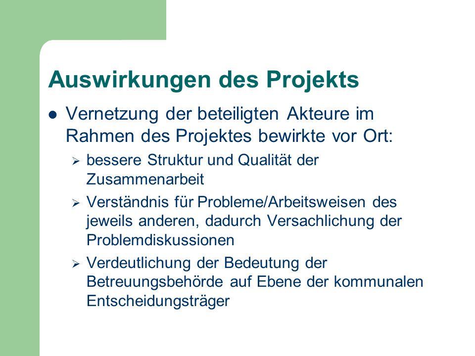 Auswirkungen des Projekts Vernetzung der beteiligten Akteure im Rahmen des Projektes bewirkte vor Ort: bessere Struktur und Qualität der Zusammenarbei