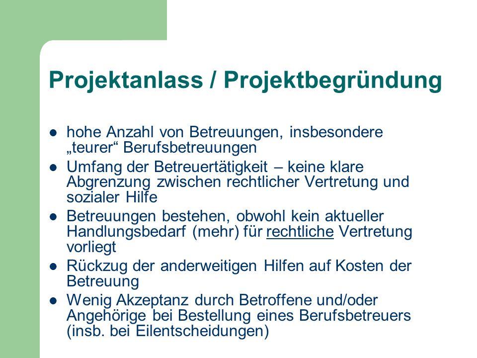 Projektanlass / Projektbegründung hohe Anzahl von Betreuungen, insbesondere teurer Berufsbetreuungen Umfang der Betreuertätigkeit – keine klare Abgren
