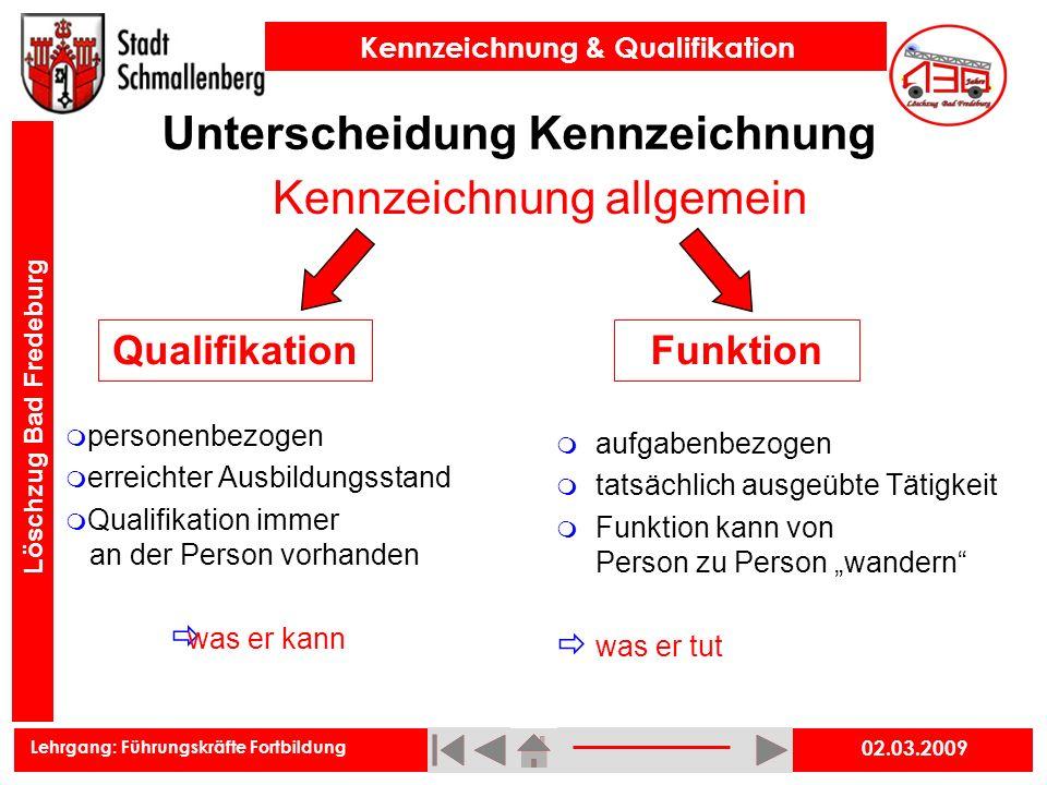 Lehrgang: Führungskräfte Fortbildung Kennzeichnung & Qualifikation Löschzug Bad Fredeburg 02.03.2009 Unterscheidung Kennzeichnung Kennzeichnung allgem
