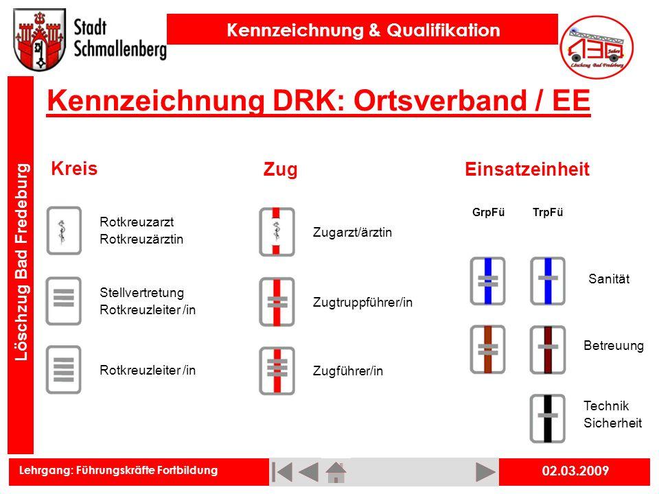 Lehrgang: Führungskräfte Fortbildung Kennzeichnung & Qualifikation Löschzug Bad Fredeburg 02.03.2009 Kennzeichnung DRK: Ortsverband / EE Kreis Zugtrup