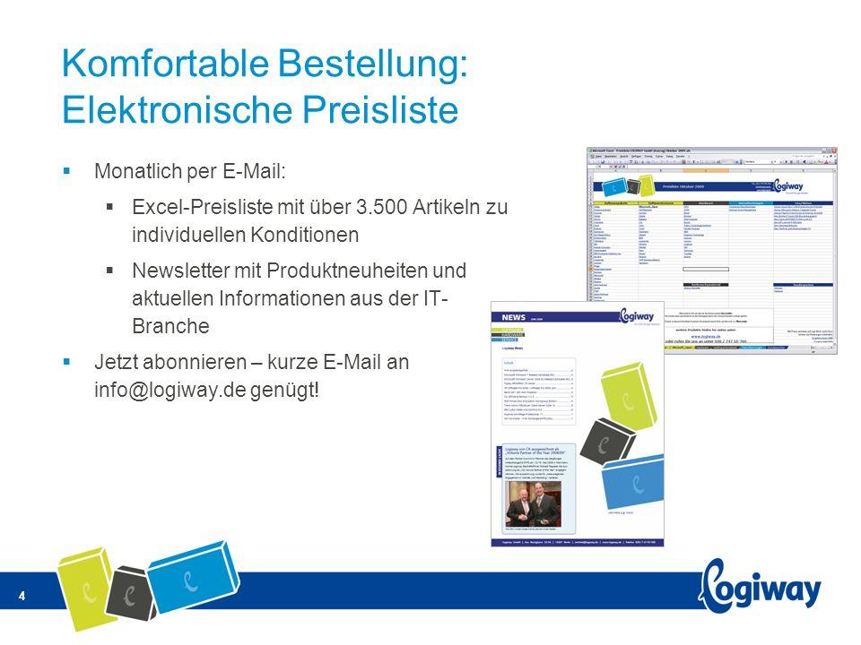 4 Komfortable Bestellung: Elektronische Preisliste Monatlich per E-Mail: Excel-Preisliste mit über 3.500 Artikeln zu individuellen Konditionen Newslet