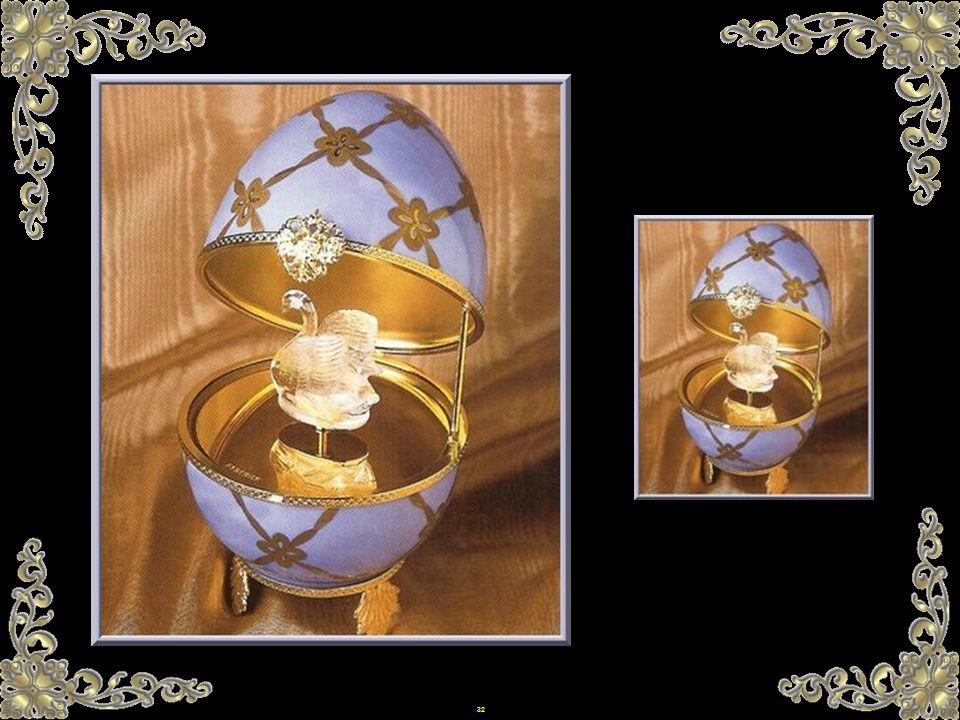 31 Faberge wurde von byzantinischer Kunst inspiriert. Andere Eier wurden in die Kollektion aufgenommen, als Andenken an wichtige Termine wie die Krönu