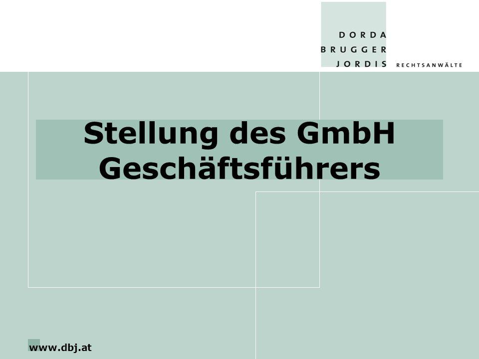 www.dbj.at Stellung des GmbH Geschäftsführers