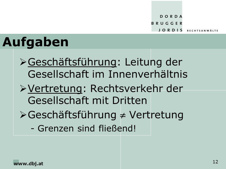 www.dbj.at 12 Aufgaben Geschäftsführung: Leitung der Gesellschaft im Innenverhältnis Vertretung: Rechtsverkehr der Gesellschaft mit Dritten Geschäftsführung Vertretung -Grenzen sind fließend!