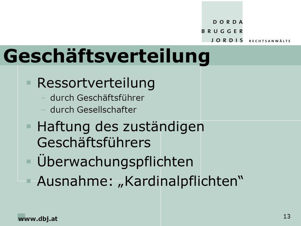 www.dbj.at 13 Geschäftsverteilung Ressortverteilung –durch Geschäftsführer –durch Gesellschafter Haftung des zuständigen Geschäftsführers Überwachungs