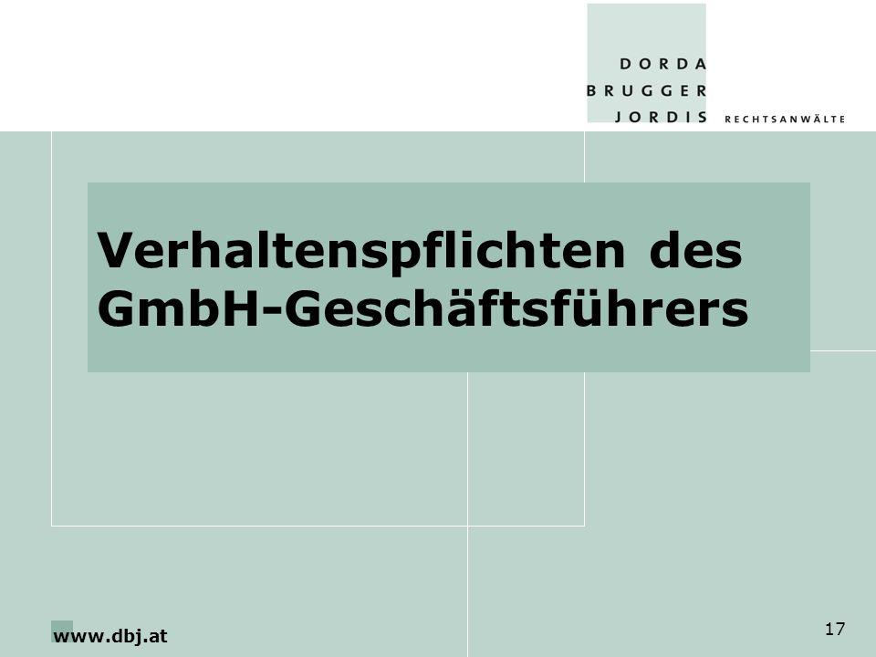 www.dbj.at 17 Verhaltenspflichten des GmbH-Geschäftsführers