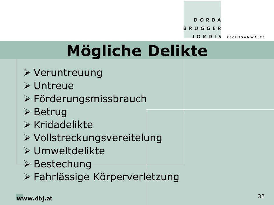 www.dbj.at 32 Mögliche Delikte Veruntreuung Untreue Förderungsmissbrauch Betrug Kridadelikte Vollstreckungsvereitelung Umweltdelikte Bestechung Fahrlässige Körperverletzung