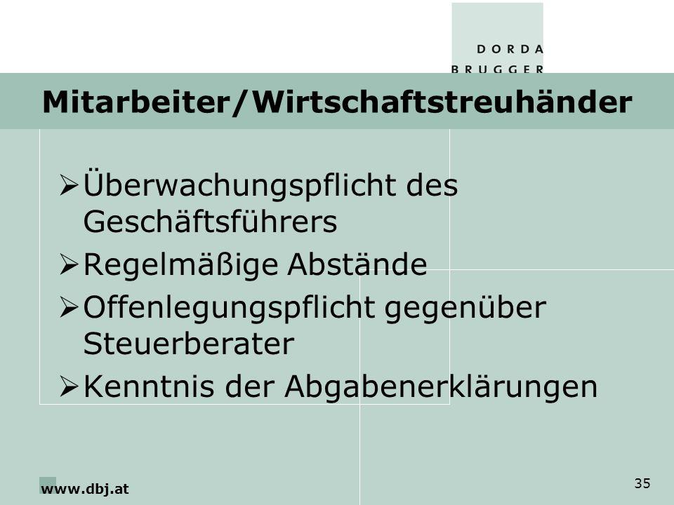 www.dbj.at 35 Mitarbeiter/Wirtschaftstreuhänder Überwachungspflicht des Geschäftsführers Regelmäßige Abstände Offenlegungspflicht gegenüber Steuerberater Kenntnis der Abgabenerklärungen