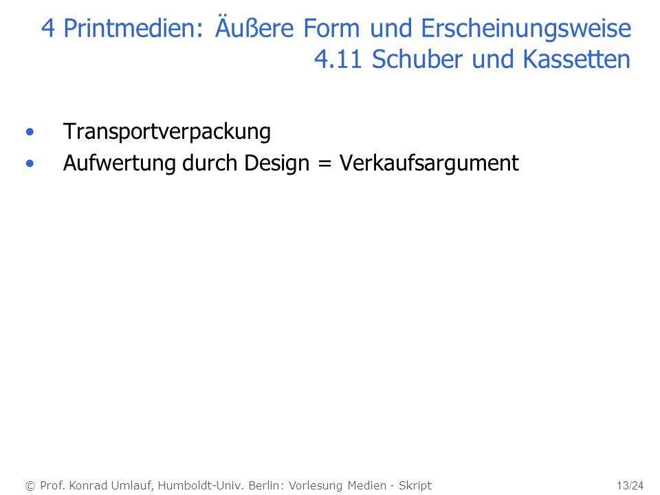 © Prof. Konrad Umlauf, Humboldt-Univ. Berlin: Vorlesung Medien - Skript 13/24 4 Printmedien: Äußere Form und Erscheinungsweise 4.11 Schuber und Kasset