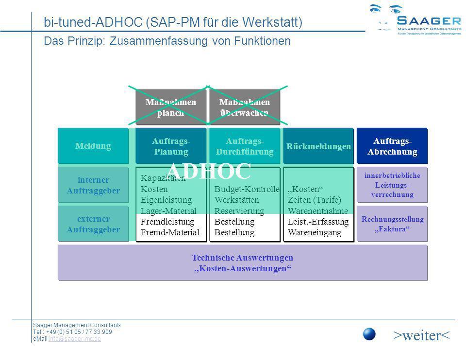 bi-tuned-ADHOC (SAP-PM für die Werkstatt) Saager Management Consultants Tel.: +49 (0) 51 05 / 77 33 909 eMail info@saager-mc.deinfo@saager-mc.de Beispiel: Die kleinen Helfer (Anmelde- und Selektionsmaske) Arbeitsumgebung für den Benutzer Selektionen Werk Arbeitsplätze Auftragsarten Planstart und -ende Individuelles Customizing (u.a.:) Anmeldung über Personalnummer Hinzufügen oder Weglassen bestimmter Felder Vorbelegung der Felder durch Benutzer- und Stammdaten Hinterlegen eigener Layouts für Rückmelde- und Auftragslisten Hinzufügen eigener Schaltflächen Arbeitsumgebung für den Benutzer Selektionen Werk Arbeitsplätze Auftragsarten Planstart und -ende Individuelles Customizing (u.a.:) Anmeldung über Personalnummer Hinzufügen oder Weglassen bestimmter Felder Vorbelegung der Felder durch Benutzer- und Stammdaten Hinterlegen eigener Layouts für Rückmelde- und Auftragslisten Hinzufügen eigener Schaltflächen >weiter< Die Ergonomie