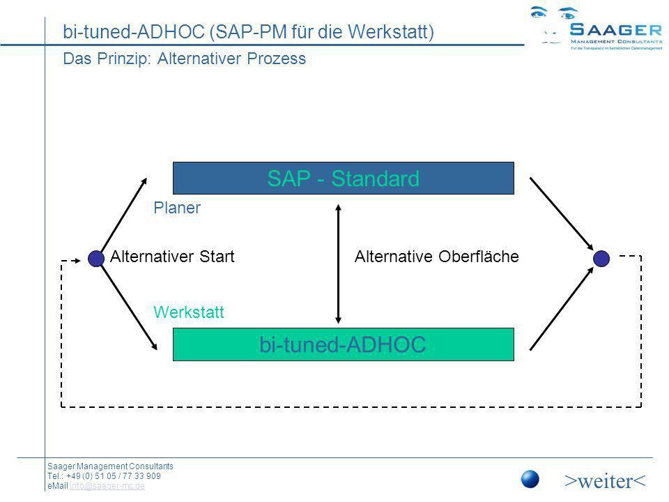bi-tuned-ADHOC (SAP-PM für die Werkstatt) Saager Management Consultants Tel.: +49 (0) 51 05 / 77 33 909 eMail info@saager-mc.deinfo@saager-mc.de bi-tuned-ADHOC: damit auch der Instandhalter damit arbeiten kann Eine einfache Instandhaltungsoberfläche im Schlachtschiff SAP-PM: Bei der bi-tuned-Schnellerfassung für SAP-PM handelt es sich um ein Add-On im SAP-PM für die Schnellerfassung von Eigenleistungen der Instandhaltungsmitarbeiter.