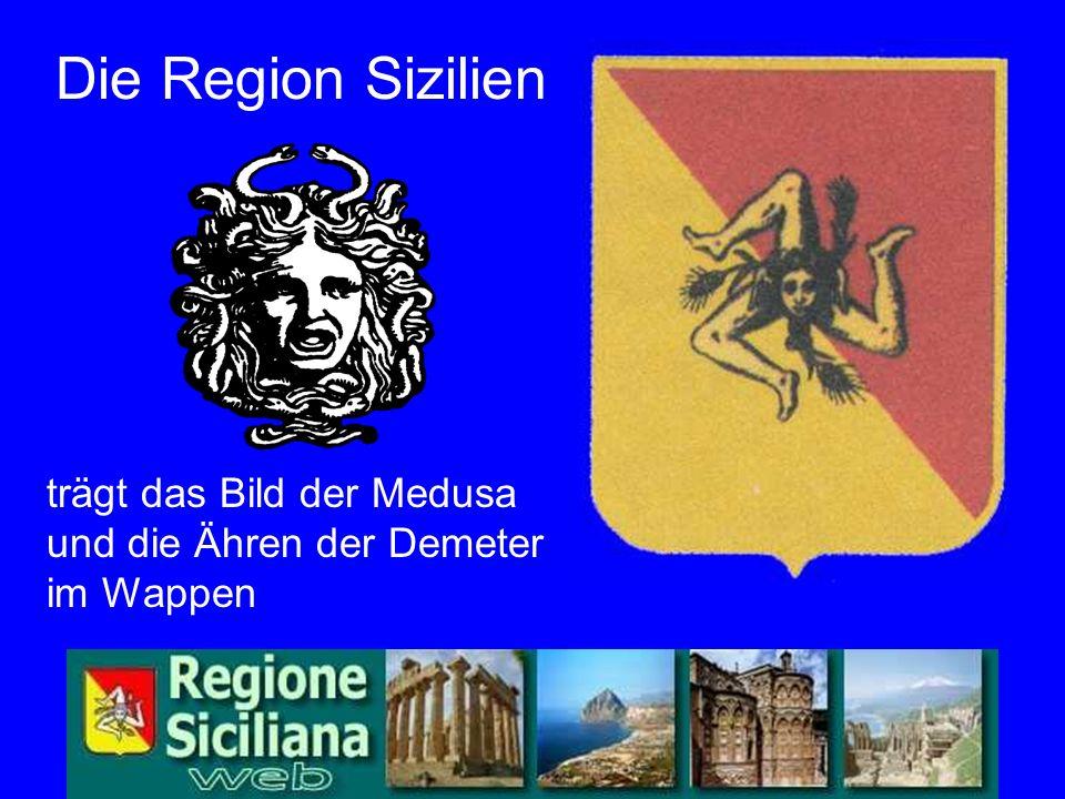 Wappen trägt das Bild der Medusa und die Ähren der Demeter im Wappen Die Region Sizilien