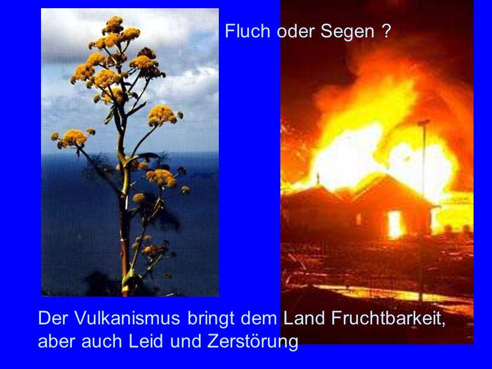 Folgen des Vulkanism us Der Vulkanismus bringt dem Land Fruchtbarkeit, aber auch Leid und Zerstörung Fluch oder Segen ?
