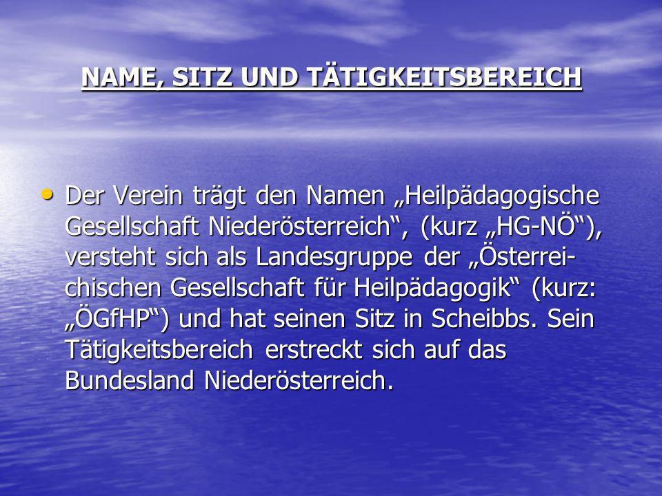 NAME, SITZ UND TÄTIGKEITSBEREICH Der Verein trägt den Namen Heilpädagogische Gesellschaft Niederösterreich, (kurz HG-NÖ), versteht sich als Landesgrup